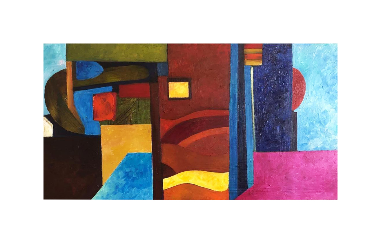 Landscape Colorful Abstract Oil Painting