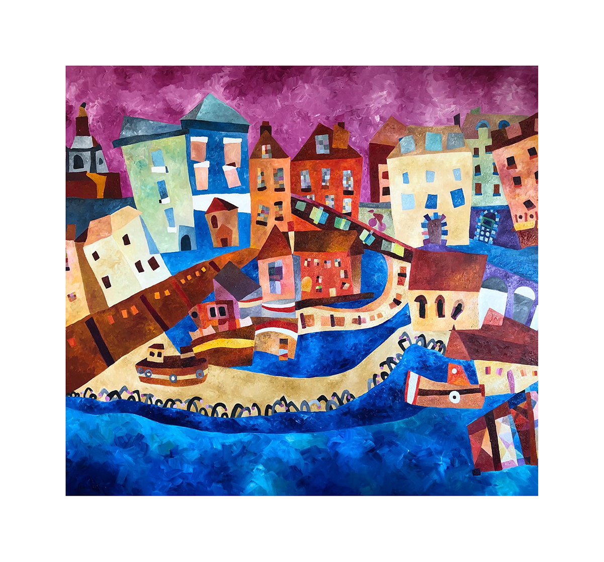 Seaside Town and Harbour Abstract Oil Painting