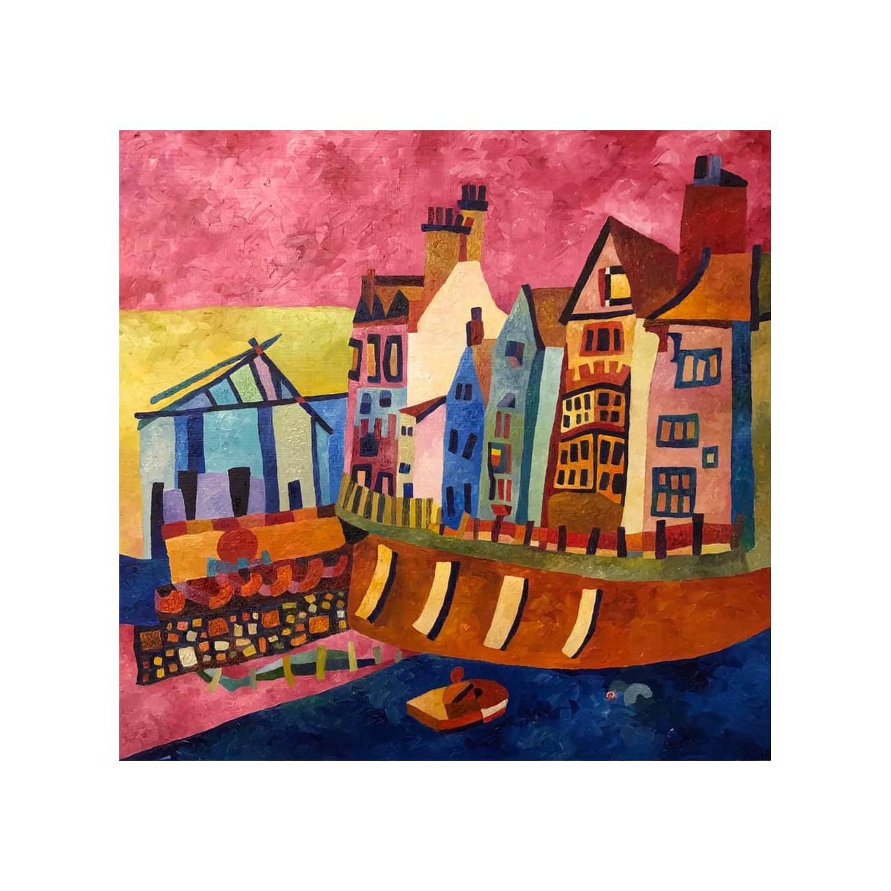 Pink Sea Front Houses Oil Painting