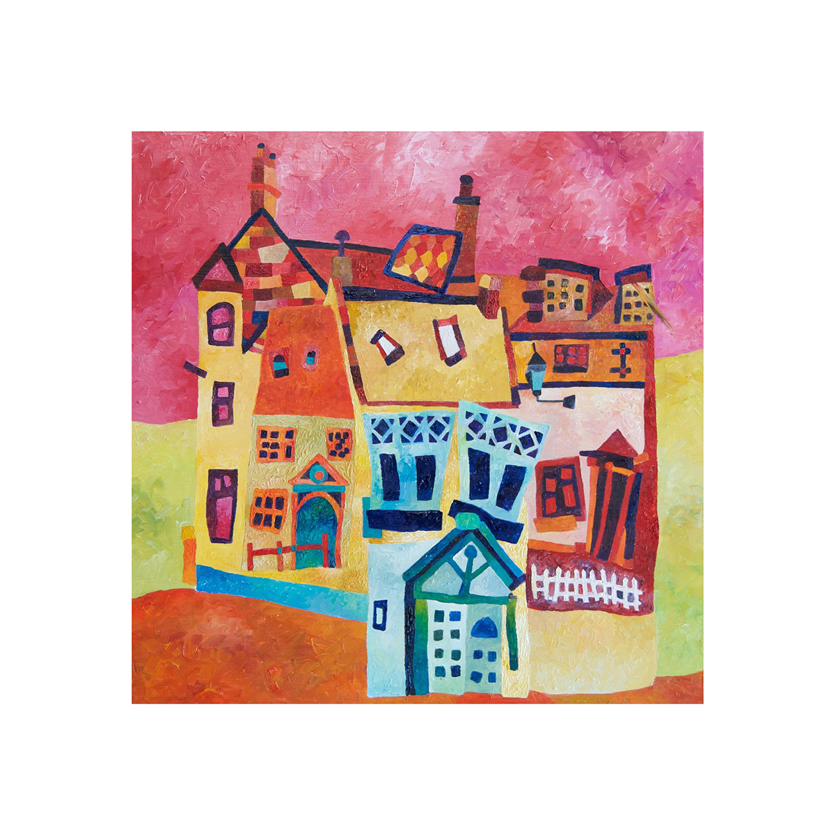Pink Houses Oil Painting