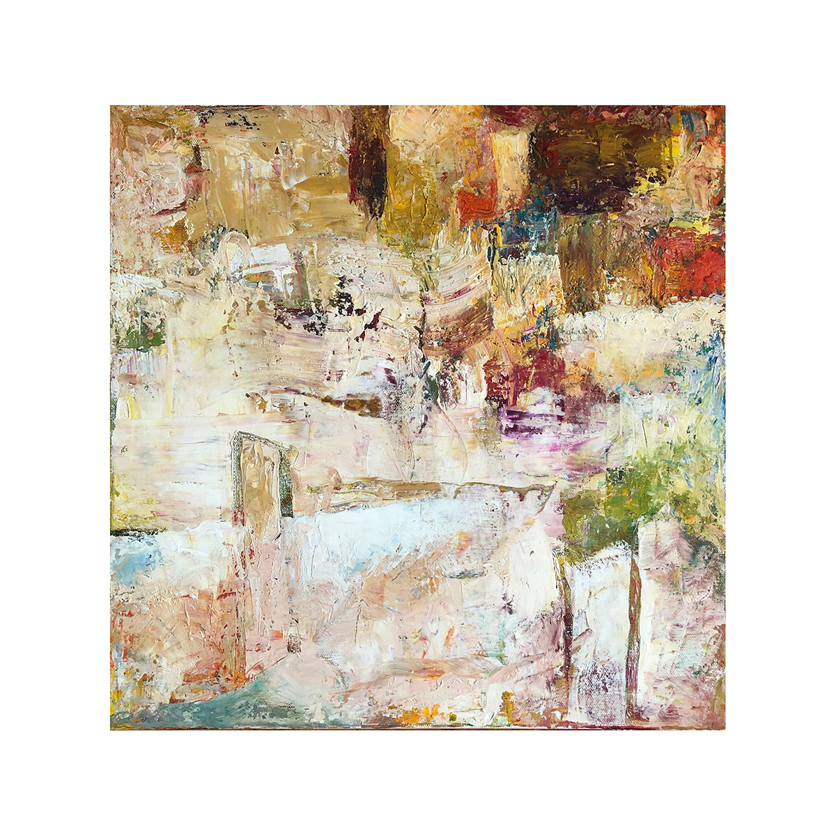 Beige and Brown with Random Colours Abstract Painting