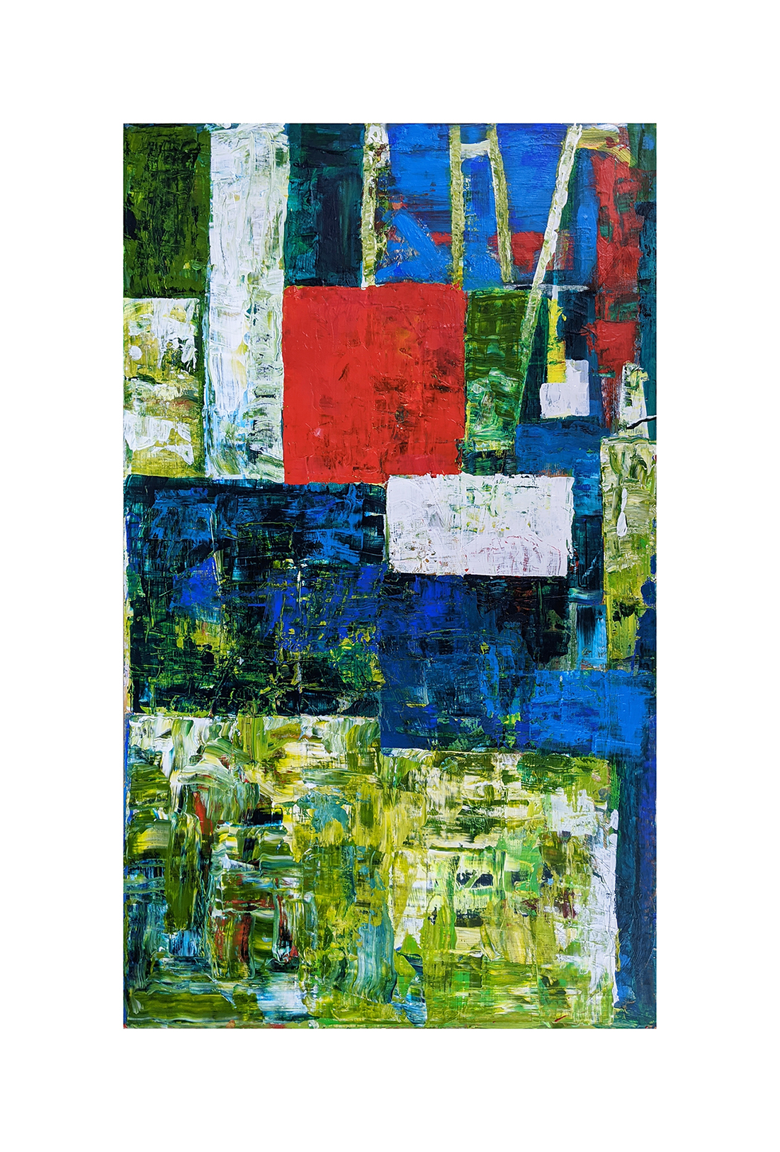 Blue and Green Old Abstract Painting