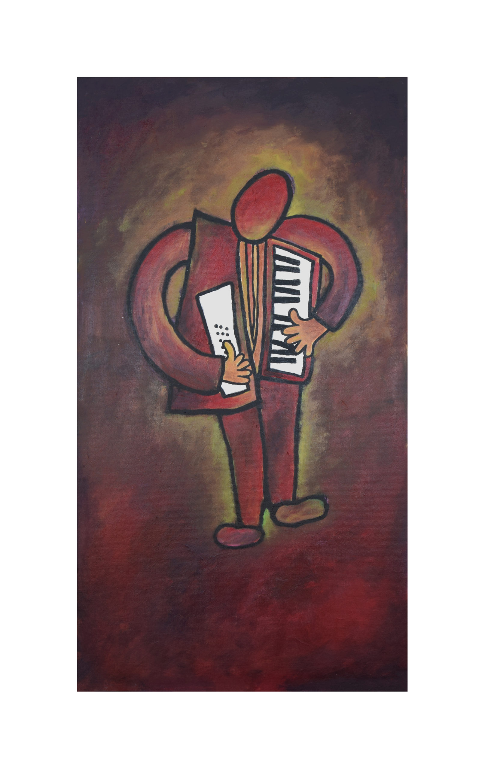 Accordion Player Painting
