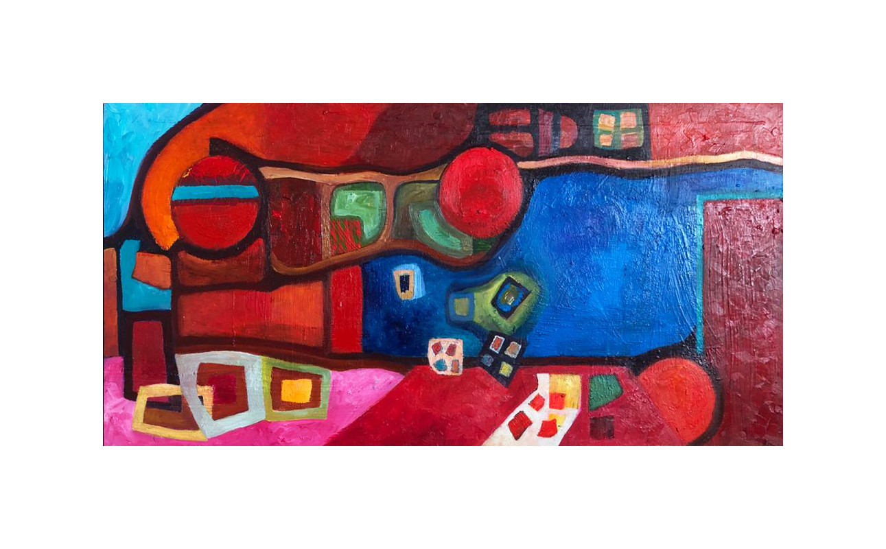 Four Dice and Some Circles Abstract Painting
