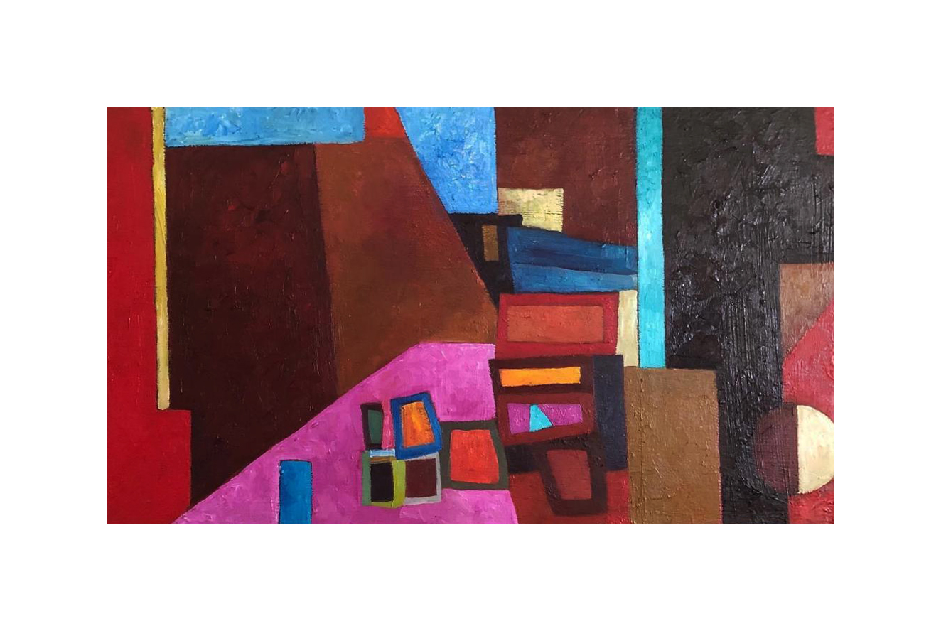 Geometrical Pink and Blue Abstract Painting